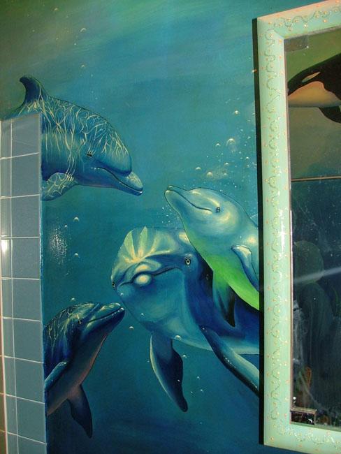 Dolphin S Bathroom Mural 1